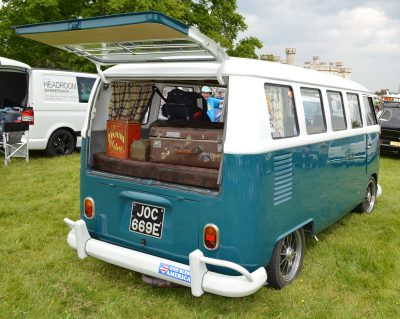 camper-van with bumper sticker