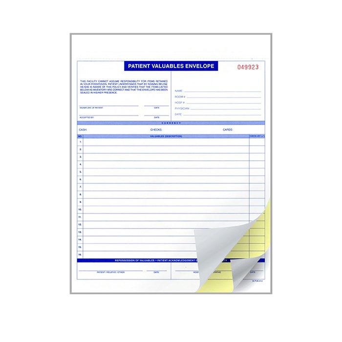 Carbon Form - Patient Valuables Envelope