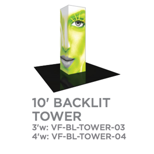 10 Foot Backlit Vector Tower Trade Show Display