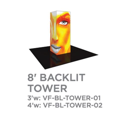 8 Foot Backlit Vector Tower Trade Show Display