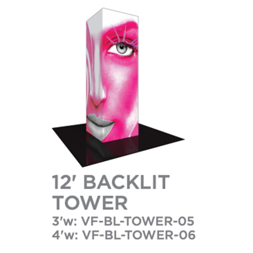 12 Foot Backlit Vector Tower Trade Show Display